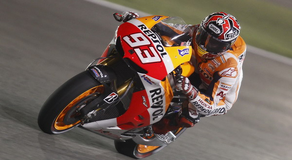 Marquez rides his bike during a free practice session at the MotoGP World Championship at the Losail International circuit in Doha